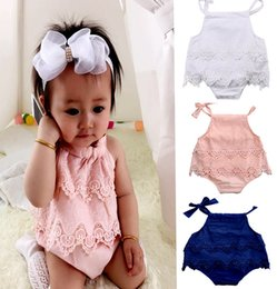 Wholesale body baby clothing - INS Newborn Infant Baby Girls Lace Bodysuit Romper Cute Bebes Body Clothes Jumpsuit Outfit Sunsuit Flower Clothes 3Colors choose free 0-18M