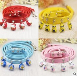 Wholesale Leather Dog Leashes Harnesses - Dog Collars Leashes 2017 Adjustable Bells Collars Little Dog Harness Leash Lead Strap Collar for Pet Dog Puppy Lovely Decoration Pet Product