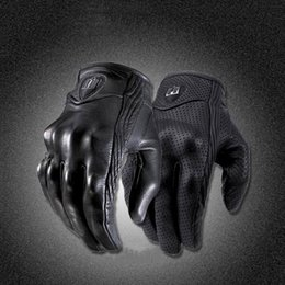 Wholesale Plain Black Gloves - Moto Racing Gloves Leather motorcycle gloves cycling Perforated Leather Motorcycle Gloves black color M L XL size