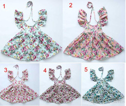 Wholesale Novelty Vintage Dress - new arrivals vintage flowers butterfly print 100% cotton Girl dress kids lolita style beach dress cute baby summer halter dress 5 colors