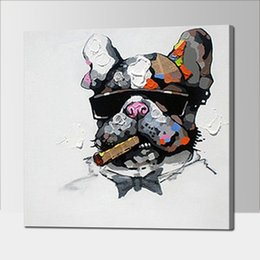 Wholesale Cool Canvas Paintings - Framed Cool Smoking Dog,Pure Hand Painted Modern Wall Decor Abstract Animal Art Oil Painting High Quality Canvas.Multi sizes Available a-TOP