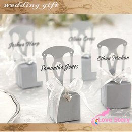 Wholesale Wedding Place Name Card - Wholesale-Chair Place Card Holder and wedding Favor Box 50 PCS LOTcandy boxes (name card,ribbon and heart)