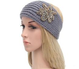 Wholesale Knit Hats Beads - 2017 New hot sale women fashion jewelry beads flower Sparkle Floral knitted headbands knit headwrap hats Ladies Warm ear warmers