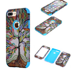 Wholesale Tree Case For Iphone - Life Tree Pattern 3 In 1 Full Protective Case Hybrid Silicone PC Shock Resistant Cover For iPhone 6s 6 7 Plus Opp Bag
