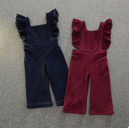 Wholesale Girls Suspender Pants - Autumn new children suspender pants Girls falbala pleated jeans suspender pants Kids princess pants children clothing A0135