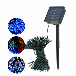 Wholesale Outdoor Christmas Led Decor - 12M 22M LED solar string light 100LEDs 200LEDs solar power Fairy lights waterproof outdoor led Christmas lights for garden party decor