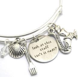 Wholesale Look Bracelet - 12pcs Little Mermaid bracelet Ariel Inspired bracelet Look at this stuff isn't it neat? charm bangles silver tone