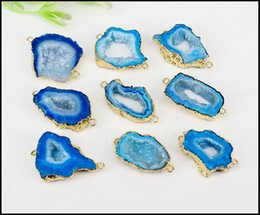 Wholesale Agate Slice Jewelry - 5pcs Druzy Geode Agate Slice Connectors ,Gold Plated Edge Geode agate Pendant in Blue color, For Making Jewelry