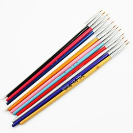 Wholesale Draw Tip Pen - Wholesale- 12 Pcs Colorful Painting Drawing Pen Nail Art Brush Acrylic Nail Art Tips Liner Nail Brushes Pen Wooden Handle