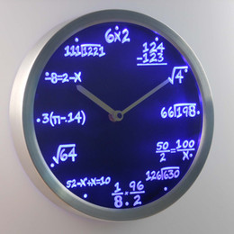 Wholesale Neon Led Wall Clock - Wholesale-nc0461 Math Class Algebra Formula Mathematics Teacher gift Neon LED Wall Clock