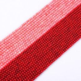 Canada 1 paquet / lot 3-3.5mm haute qualité ronde naturelle perles de corail rose rouge lâche entretoise perles bricolage pour bracelet collier fabrication de bijoux cheap 14k coral necklace Offre