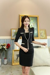 Wholesale Ladies Beige Blazers - 2017 new design fashion Europe America casual one button V-neck Fifth sleeve office Lady OL women's blouse blazer skirts suits