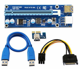 Wholesale Pci Parallel Adapter - 006C PCIe PCI-E PCI Express Riser Card 1x to 16x USB 3.0 Data Cable Adapter SATA to 4Pin IDE Molex 6 pin for Bitcoin Mining