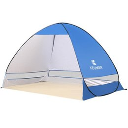 Wholesale waterproof pop up tents - Wholesale- Indoor Light Weight Large Camping Folding Pop Up Tent Beach Party Tipi Waterproof 2 Person Tent Pink Fishing Tent Cot
