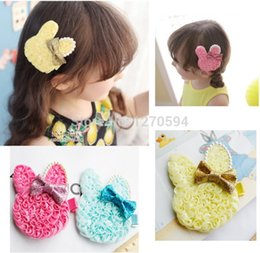 Wholesale Cheap Cute Hair Bows - Novelty Cheap Blue Yellow Pink Rose Red Color Rabbit Hairpin Cute Fashion Glitter Bow Rabbit Easter Girls Handmade Hair Clips