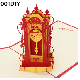 Wholesale Valentine Postcards - Wholesale- OOTDTY Valentines Day Gift 3D Swing Clock Pop up Greeting Card Postcard Matching Envelope Laser Cut Handmade Birthday Post Card