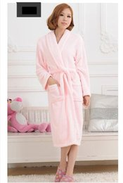 Wholesale Men Cotton Sleepwear - Wholesale-Unisex Women&Men Coral Fleece Loose Long Sleepwear Robes Bathrobe Spa #8 Colors