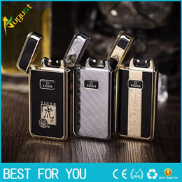 Wholesale electronic cigarette charge box - Tiger brand 909 arc pulse lighter environmental creative charging lighter with gift box for man