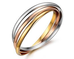 il braccialetto all'ingrosso tre colore Sconti All'ingrosso - Acciaio inossidabile oro rosa Bracciale a tre colori braccialetti per le donne Bracciali a tre cerchi con braccialetti per donna