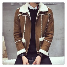 Wholesale Wide Fur Lapel Mens Coat - Mens Fur Coat Winter&autumn Fashion Korean Style Lambswool Sueded Men's Casual Thicken Cotton-padded Clothes US Size:XS-XL