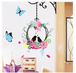 Wholesale Decorative Birds Decals - Pvc Cartoon Animal Wall Sticker Flower Bird Butterfly Living Room Bedroom Background Decorative Covering Art Decals Home Stickers