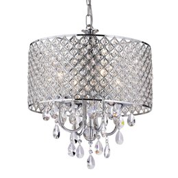 Wholesale Dining Room Crystal Chandelier - Modern Chandeliers with 4 Lights Pendant Light with Crystal Drops in Round, Ceiling Light Fixture for Dining Room, Bedroom, Living Room