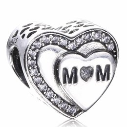 Wholesale Real Pandora Bracelets - 100% Real 925 Sterling Silver love heart MOM Bead Charms With Clear CZ Fit Original Pandora Bracelets Diy Fashion Jewelry