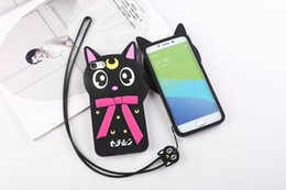 Wholesale Cat Protectors - 3D Cute Cartoon Sailor Moon Luna Cat Soft Silicone Phone Case for IPhone 5 5s Se 6 6s 7 Plus Protector Cover Shell Free Shipping