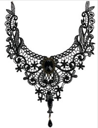 Wholesale Necklace Exotic - Handmade Retro Exotic Steampunk Lace Flower Choker Collar Necklace Black Stone Bead Pendant Fashion Jewelry for Women