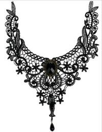 Fait à la main Rétro Exotique Steampunk Dentelle Fleur Collier Ras De Cou Collier Noir Pierre Perle Pendentif Bijoux De Mode pour les Femmes ? partir de fabricateur