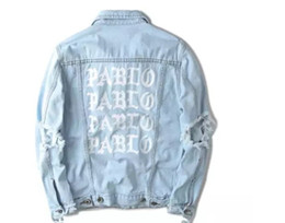 Wholesale Button Holes - 2016 KANYE WEST SEASON 3 Oversized PABLO Men Jackets Broken Hole Jean Coat HIPHOP Motorcycle Jacket Men Jeans Denim Jacke 20092