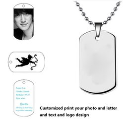 Wholesale Printing Text - customized print photo you want text diy pendant high quality stainless steel men necklaces pendants dog Tag custom lettering pendants
