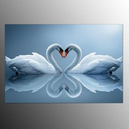 Wholesale Oil Paintings Swans Canvas - Modern Decor Canvas Print Swan Lake Oil Painting on Canvas Wall Art Picture Decor Canvas Poster Painting for Living Room GRAFFITI PAINTING
