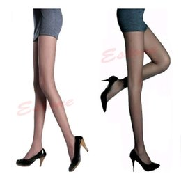 Wholesale Ladies Sheer Sexy Panties - Wholesale- Sexy Semi Sheer Full Foot Women Thin Pantyhose Panties Stockings Legging for Women Ladies Girls