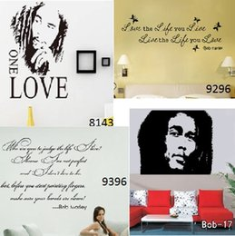 Wholesale Abstract Free Wallpaper - Bob Marley Love Wall Sticker Vinyl Butterfly Wall Decals Wallpaper Character Wall Stickers Home Decoration Free Shipping