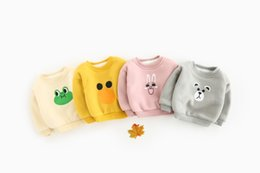 Wholesale Top Selling Kids Clothes - Hot Selling Ins Baby Kids boy Girl Long Sleeve Thick cashmere Long Sleeve T shirt Winter Warm cashmere baby kids clothing Top Tees