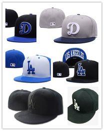Wholesale Hat La - Newest HOT 20 Colors Wholesale Los Angeles Dodgers Fitted Caps LA Letter embroidery baseball cap flat-brim hat team size baseball caps