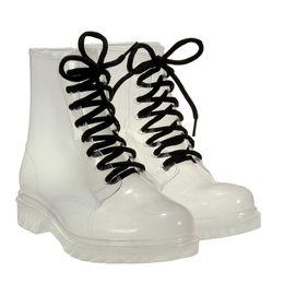 Wholesale Transparent Pvc Red High Heels - Wholesale- Hot Sale Women's Rainboots Clear Crystal Jelly Women Flat Heel Transparent Low Boots Knight Water Shoes Rain Mid-Calf Shoe