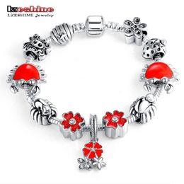 Wholesale Antique Enamel Gold Bracelet - LZESHINE Original Charm Bracelet with Flower Enamel Beads Antique Silver Women Glass Bracelet & Bangle Fit Women Jewelry 0211