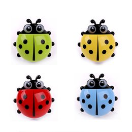 Wholesale Cartoon Storage Rack - Wholesale- New Funny Cartoon Yellow   Red   Blue   Green Toothbrush Holder Suction Cup Hook Cute Ladybug, Cute Multicolor Storage Rack