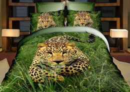 Wholesale tiger animal comforters - 2017 NEW Europe 5D Active Printed Tiger Animal Pattern 100% cotton fashion comfortable quilt cover pillowcases bedding sets