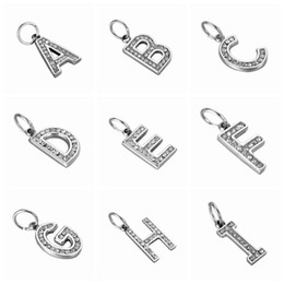 Wholesale Large Bangles Wholesale - Wholesale- FUNIQUE Stainless Steel Charms For DIY Jewelry Making alphabet With Crystal Pendants For Bangle Fit Large Hole Bracelets 2016