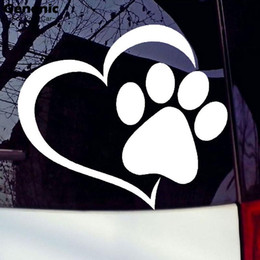 Wholesale Paw Car Sticker Decal - 11cm*9.3cm New Pet Paw love heart Pattern Car Window Stickers Vinyl Beast Cats And Dogs Decals