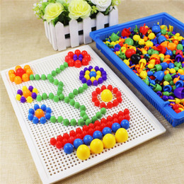 Wholesale Picture Puzzles Kids - Mushroom Nail Kit Puzzle Toys 3D Mosaic Picture Puzzle 296pcs Kids Children Birthday Gifts brinquedos juguetes UNIQUE Toys