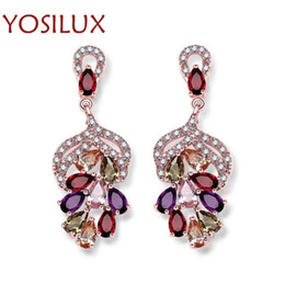 Wholesale Rhinestone Green Chandelier Earrings - Charms Women Rhinestone Earrings High Quality Blue Green Pink White Multicolor Crystal Earrings Italian Shinning Jewelry YOSILUX A015