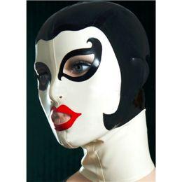Wholesale Hood Zip - new sexy products female women Latex drama theatrical domino Mask handmade Hoods back zip customize size Fetish costume zentai