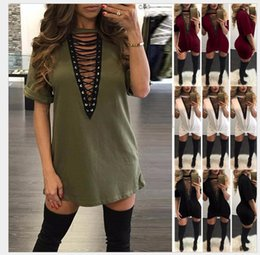 Wholesale Hollow Worked Gowns - 2017 Women Sexy Party Dress Summer Short Sleeve Hollow Out Lace-Up Sexy V-neck Club Bodycon Work Dress Vestidos