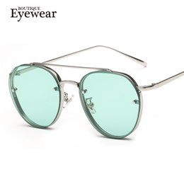 Wholesale Double Gradient Sunglasses - Wholesale-BOUTIQUE Women Round Double Beam Sunglasses Men Clear lens Vintage Glasses UV400