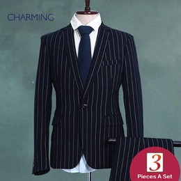 Wholesale Three Button Cotton Blazer - pinstripe suits blazers male Vest and pants business suits for men s three piece suit latest mens suits suit designer