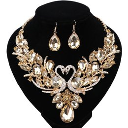 Wholesale Champagne Jewelry Sets - Gold Plated Champagne Crystal New Collier Femme Double Swan Statement Necklace Earring For Women Party Wedding Jewelry Set